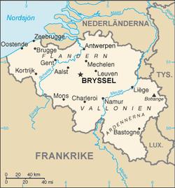 Karta över Belgien