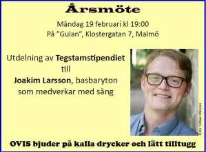 Joakim Larsson basbaryton får Tegstamstipendiet