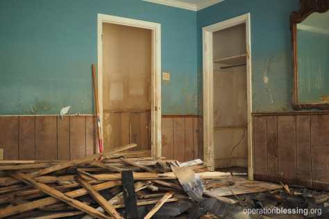 Damage in a Louisiana home from the August, 2016 flood. Operation Blessing photo