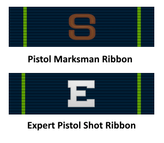navy marksman and expert pistol ribbon - navy boot camp