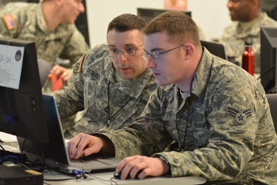 air force cyber security officers at work
