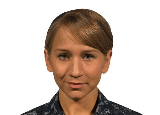 navy female hair bangs must not drop below the eyebrow