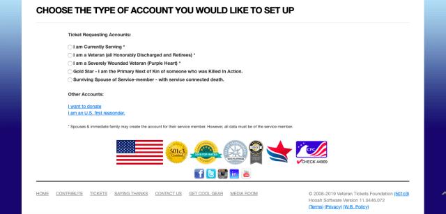 vet tix account selection