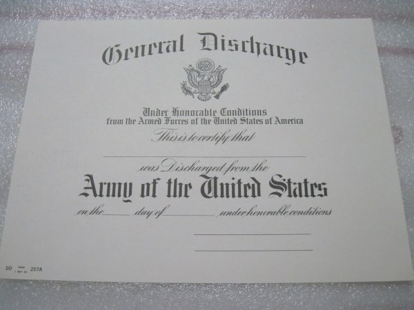 an example of a general discharge certificate for the US army