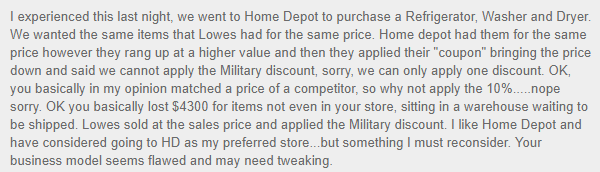 home depot military discount complaint