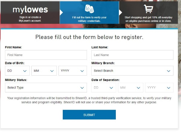 mylowes military discount registration form