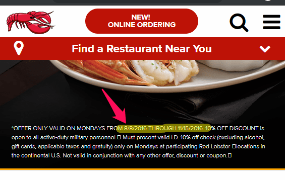 red lobster military discount - military mondays