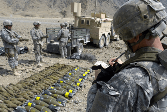 an Explosive Ordinance Disposal Specialist at work