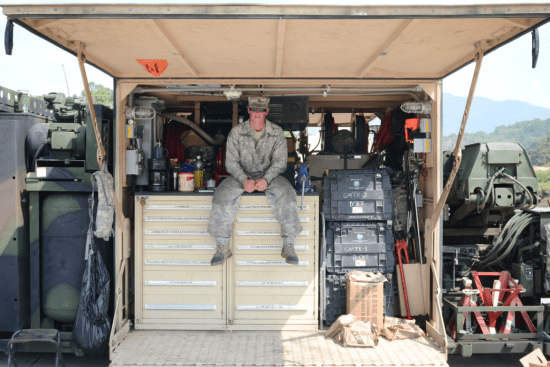an M1 Abrams Tank System Maintainer at work