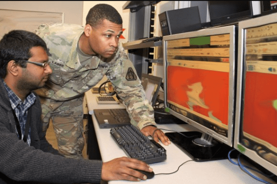an Field Artillery Tactical Data Systems Specialist at work