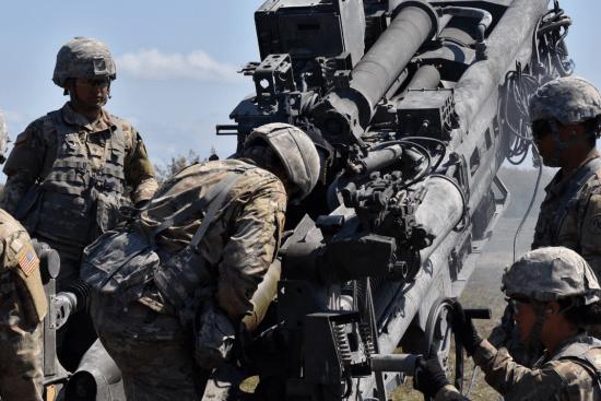 an Field Artillery Surveyor at work