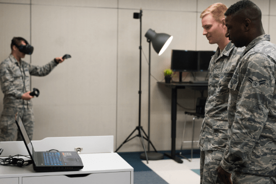 an Geospatial Intelligence Imagery Analyst at work