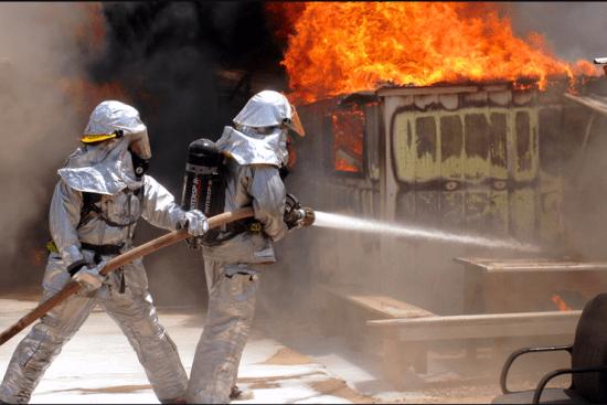an Firefighter at work