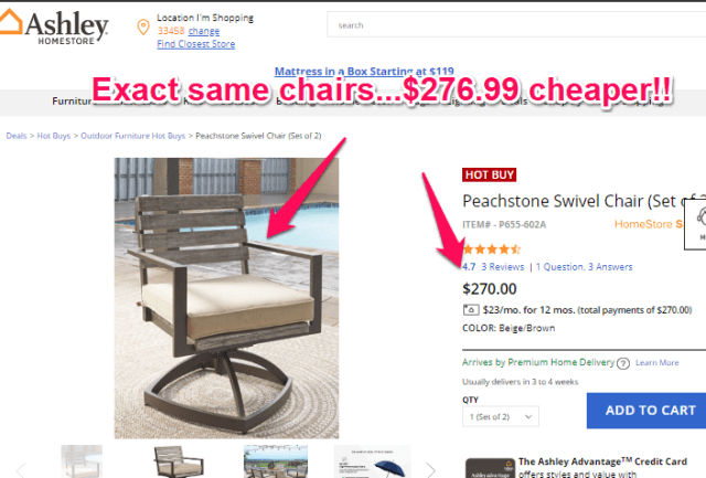 ashley furniture price for swivel chairs