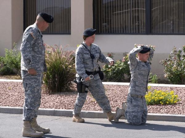mock military arrest
