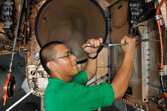 an Aviation Structural Mechanic - Equipment at work