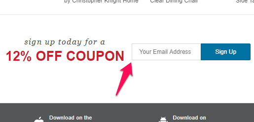 overstock coupon offer at bottom of page