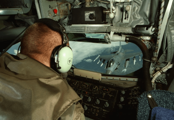 air force in flight refueler at work
