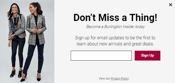 burlington coat factory newsletter signup