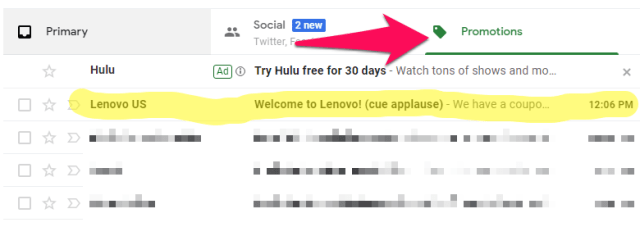 lenovo email in promotions tab in gmail
