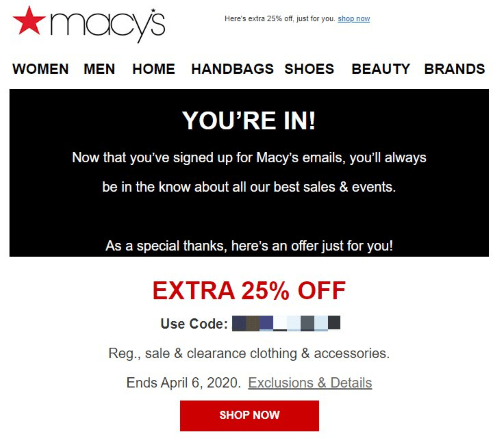macys coupon code in email
