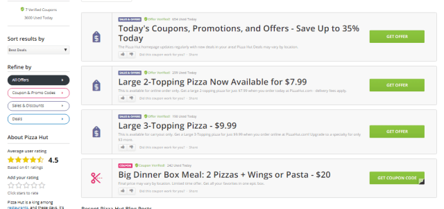 other offers from pizza hut