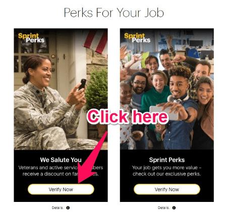 sprint perks - military salute