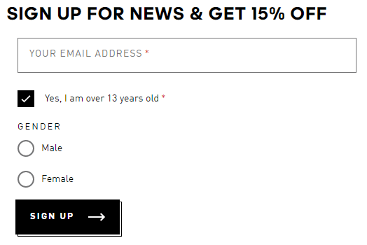 adidas newsletter email signup