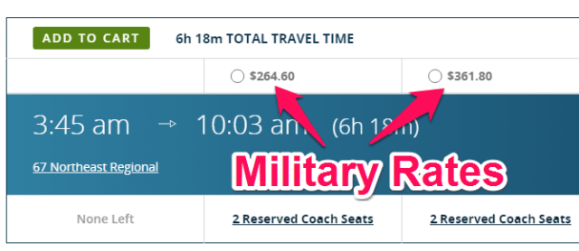 amtrak military rates