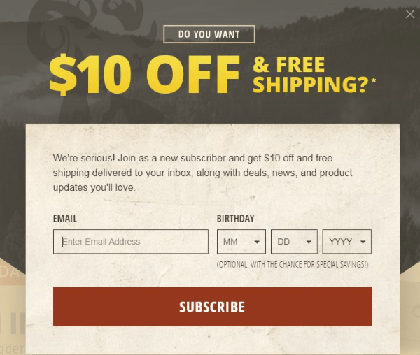 brownells newsletter signup discount