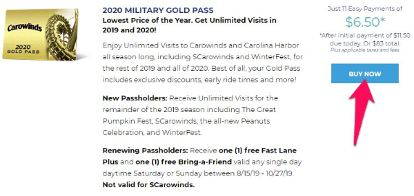 carowinds military gold pass