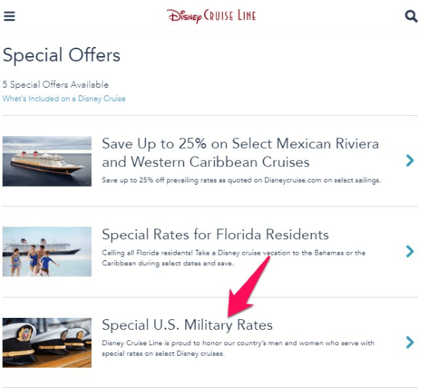 disney cruise special military rates