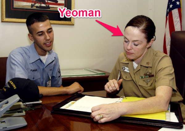 navy yeoman at work