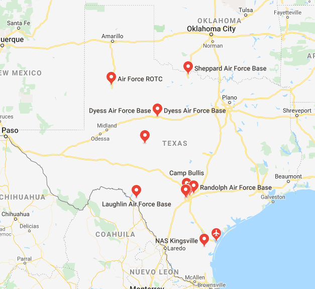 air force bases in texas