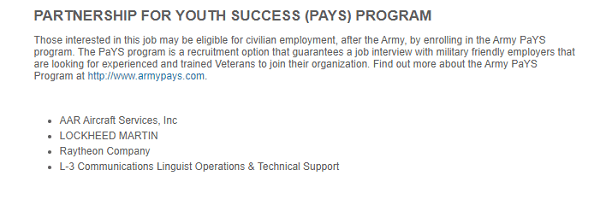 Army PAYS