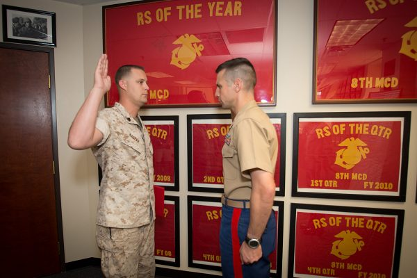 Marine pins meritorious promotion
