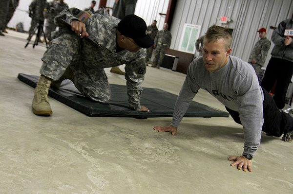 Soldier doing Army Push Ups during a Fitness Test