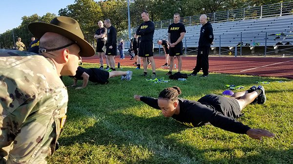 Soldier performs hand release push ups for Army Combat Fitness Test