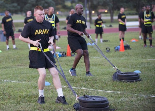 Soldiers during the drag portion of the Sprin-Drag-Carry for ACFT