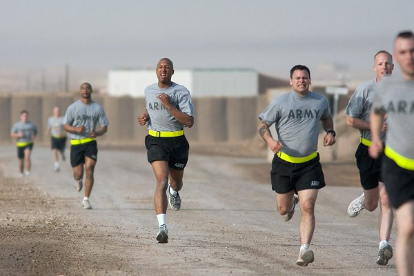 Soldiers perform 2 mile run for the Army Combat Fitness Test (ACFT)