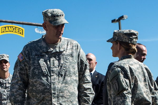 U.S. Army Chief of Staff Gen. Ray Odierno speaks with a female Soldier at the Army Ranger Training Brigade