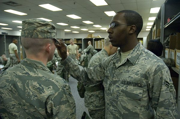 Air Force boot camp Initial uniform issue includes a clothing fit check