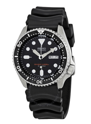 automatic black dial black rubber mens watch