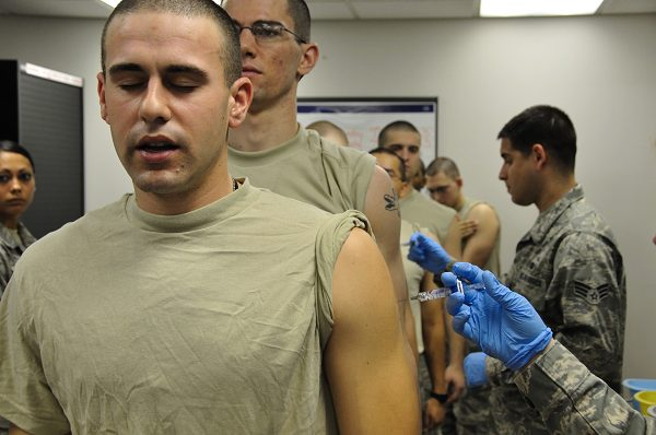 recruits receive multiple immunizations to prevent illness and disease