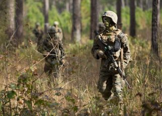 Marines from Delta Company, Infantry Training Battalion, School of Infantry East on patrol