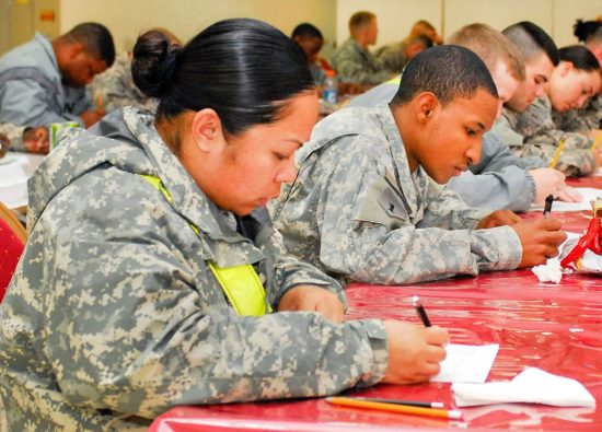 students take a prep test for the asvab