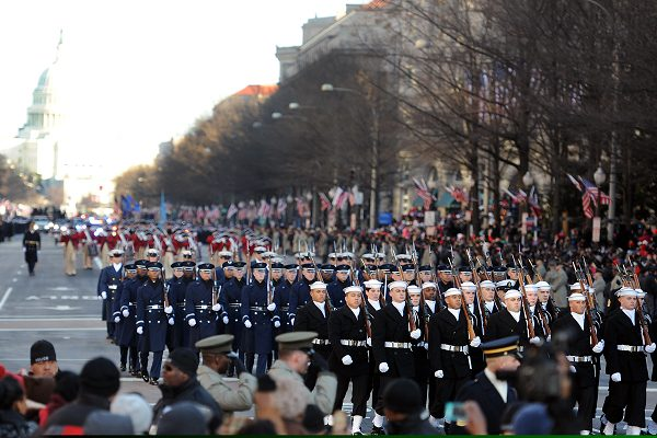 The Ceremonial Guard, with the United States Air Force Honor Guard and the 3rd U.S. Infantry Regiment (The Old Guard) during an inaugural parade.