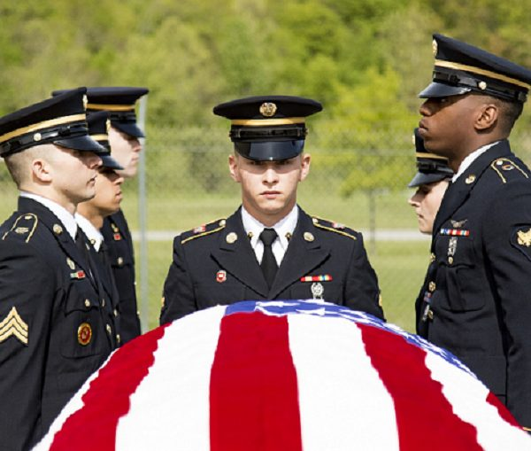 military color guard members rehearse the movements and commands of a full military funeral