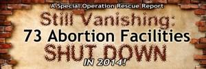 Still Vanishing: 73 Abortion Facilities Shut Down in 2014