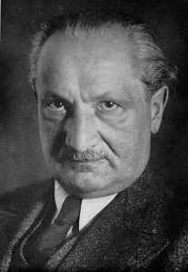 German philosopher Martin Heidegger, famous for his contributions to existentialism and phenomenology